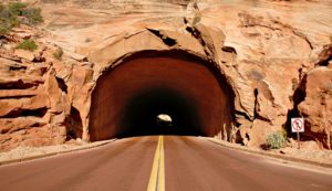 The famous 1 mile tunnel. Photo credit: http://www.myutahparks.com/maps/scenic-drives/zion-mt-carmel-hwy/