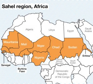 The Sahel region starts from Senegal in the East, to Sudan in the West.
